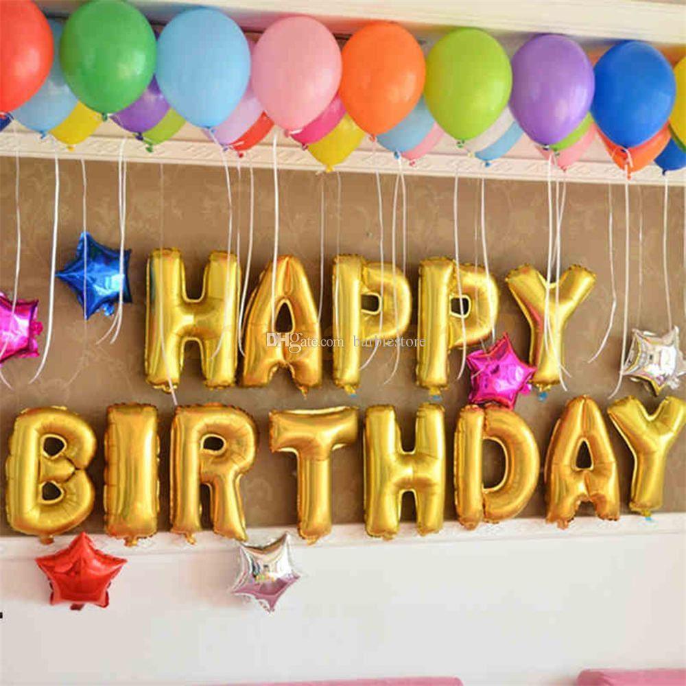 Satın Al 16 13 Adet Mutlu Doğum Günü Mektuplar Folyo Balonlar Doğum