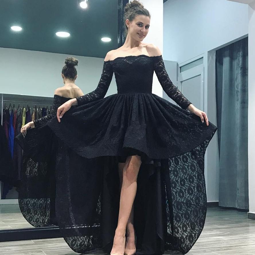 f98c9431a Compre Sexy Black Full Lace High Low Vestidos De Fiesta Elegantes Fuera Del  Hombro Manga Larga Vestido De Noche Sencillo Por Encargo Vestido De Ocasión  ...