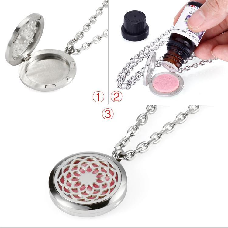 Gioielli YB Gioielli in acciaio inox 316L, ciondolo medaglione la collana di diffusore ad olio essenziale aromaterapia, con catena da 24
