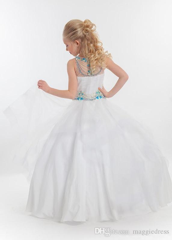 2016 Nova Teal Meninas Bonitos Vestidos Pageant tamanho 10 Tulle Contas De Cristal vestido de Baile Para As Crianças Longo Até O Chão Babados Meninas de Flor Do Partido vestidos