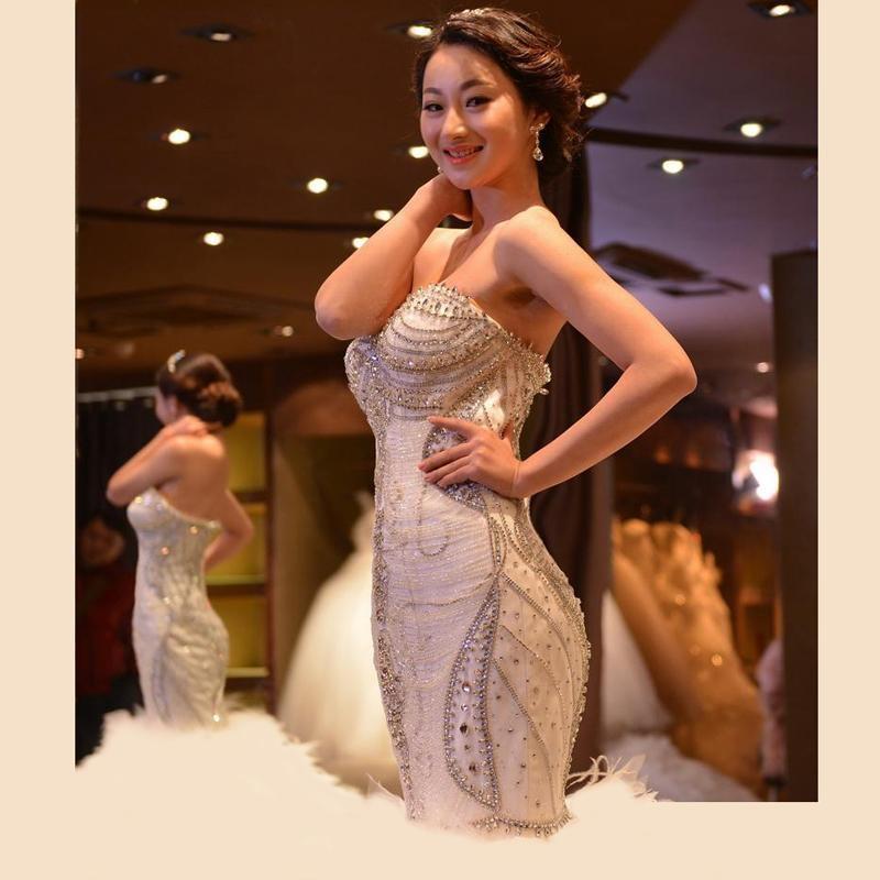 Vestido de Noiva Kristall Weiße Meerjungfrau Brautkleider Luxus Strauß Feder Brautkleider Sexy Elfenbein Brautkleid 2021 Robe de Mariage