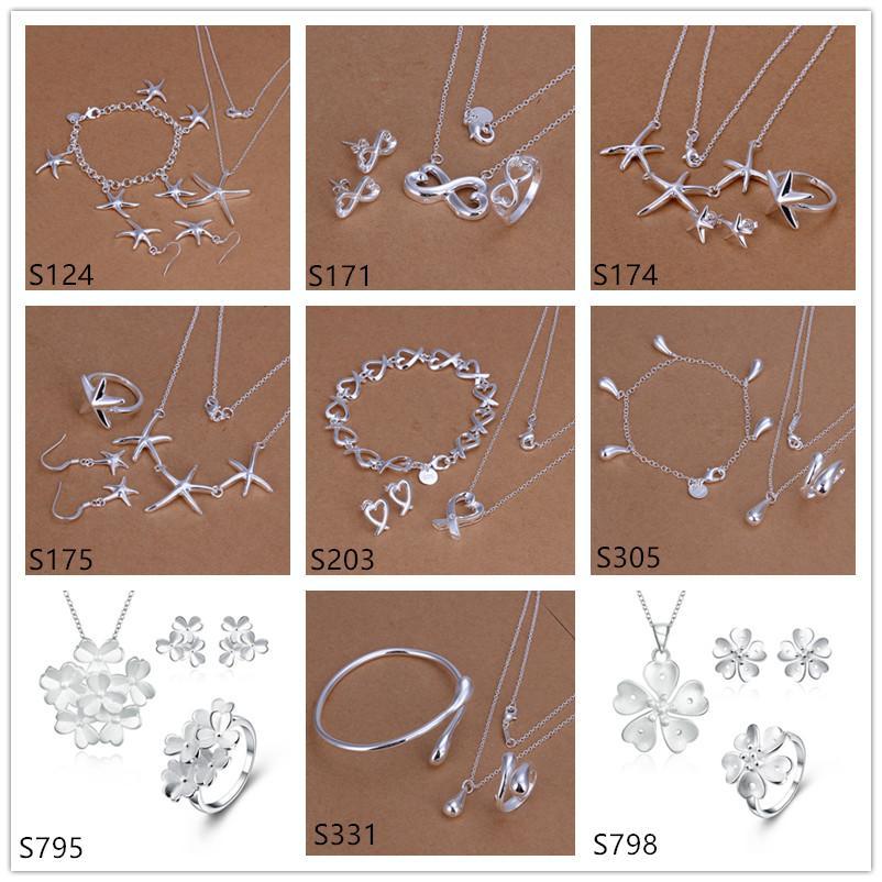 Venta caliente Las joyas de plata esterlina de las mujeres conjuntos un montón de estilo mixto EMS58, Fashion 925 Pulsera Plata Pulsera Pendiente Anillo Juego de joyas