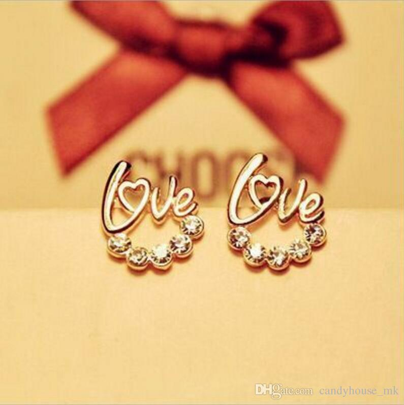 2017 Selling creative earrings super flash drill English LOVE letter earrings earrings small jewelry Retail and wholesale