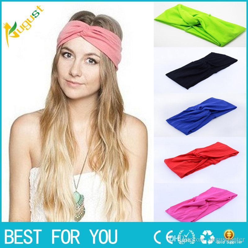 b2facbe964b Twist Elasticity Turban Headbands for Women Sport Head Band Yoga ...