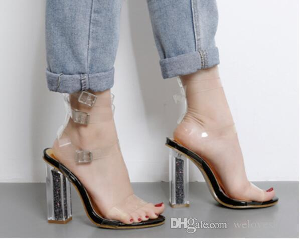 2017 mode frauen blingbling schuhe offene spitze sandalen knöchelriemen high heels pailletten ferse gladiator sandalen hochzeit schuhe