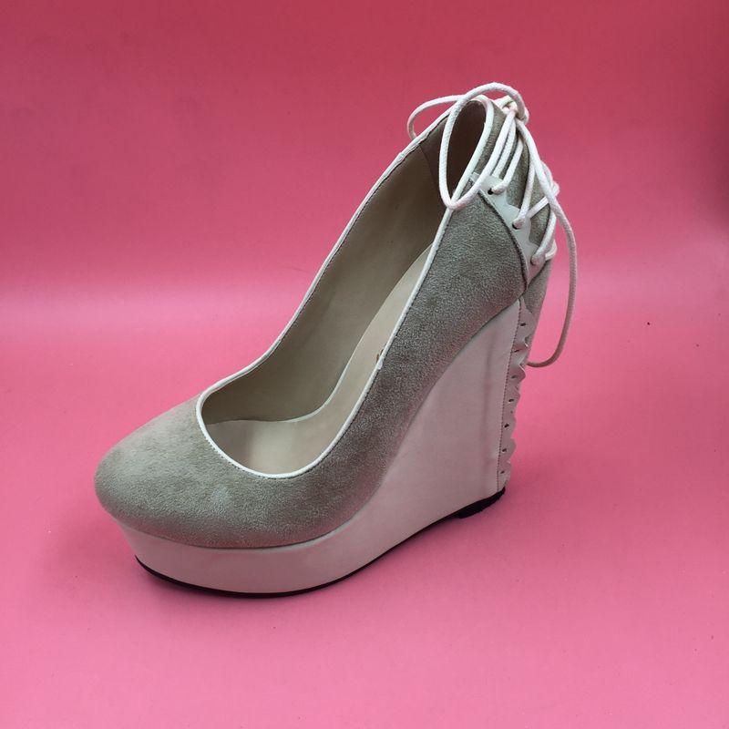 Grosshandel Khaki Damen Keilabsatz Kleid Schuhe Runde Zehe Slip On