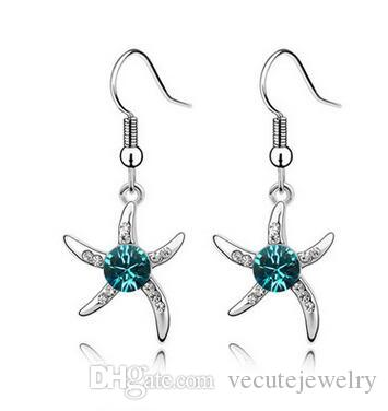 1a5358468873e9 Wholesales Fashion Jewelry 925 silver Plated Swarovski Elements Crystal  Star Drop Earrings for women wedding jewelry animal earrings