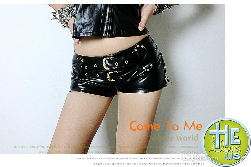 Sexy Faux Leather Hot Shorts Double Sashes Low Rise Waist Micro MINI Shorts With Zipper Open Erotic Culb Wear FX1035