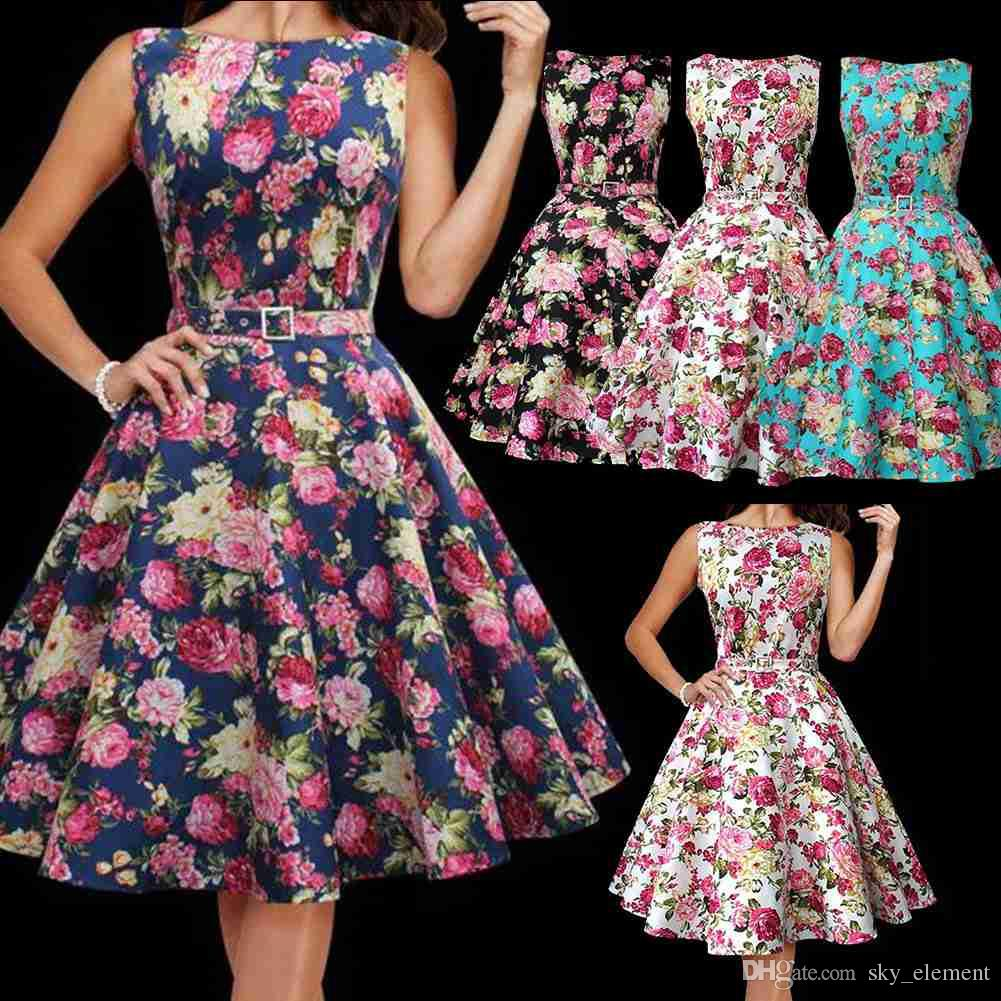 Vintage 1950\'S Floral Rockabilly Spring Garden Party Picnic Dress ...