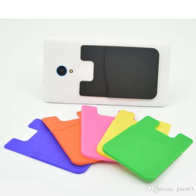 Tamaño universal de alta calidad de silicona teléfono inteligente bolsa 10 unids / lote envío gratis tarjeta adhesiva fuerte ID de bolsillo titulares de tarjetas