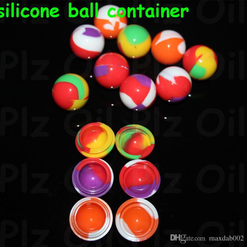 100 Pz Lotto Silicone Ball Container Nonsolid Colore Puro Colore antiaderente Cera Bho Olio Vaporizzatore Vasi di Silicio Dab Cera Contenitore