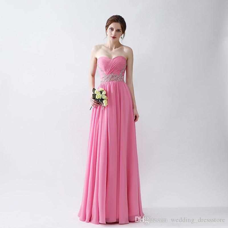 Simple A Line Prom Dresses 2018 Hot Sale Chiffon Formal Evening Gowns  Backless Zipper Design Beaded Prom Dress Floor Length Cheap Prom Dresses  Online Cheap ... b6714675decd