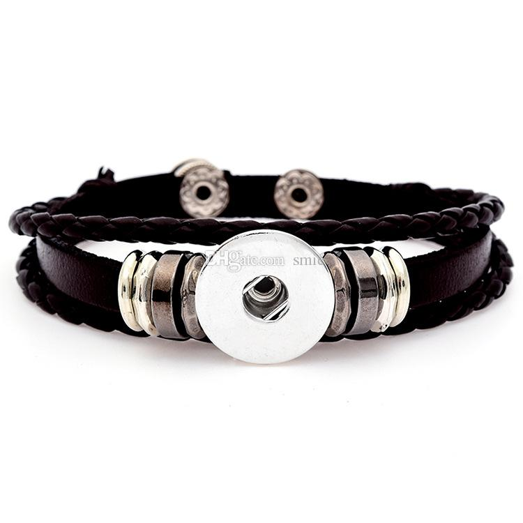 Noosa Chunks Snap Button Charm Bracelet&Bangles High quality leather Bracelets For Women 18mm Rivca Ginger Snaps Button Jewelry