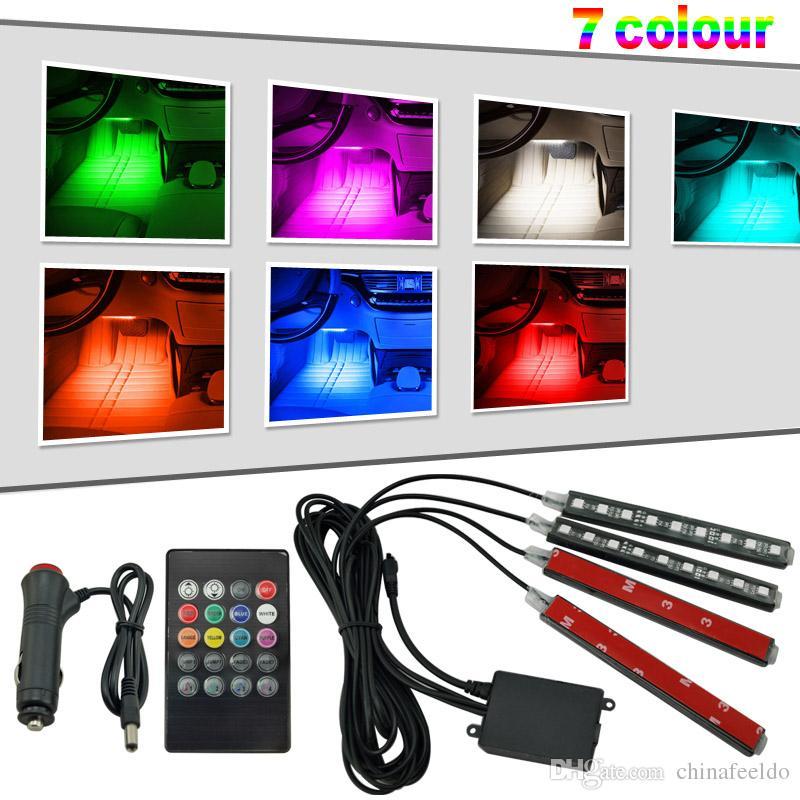 Interior de carro RGB LED Strip Luz voz de controlador Atmosfera Lamp Pé Luz decorativa Com 24 Key Remote Controller # 4563
