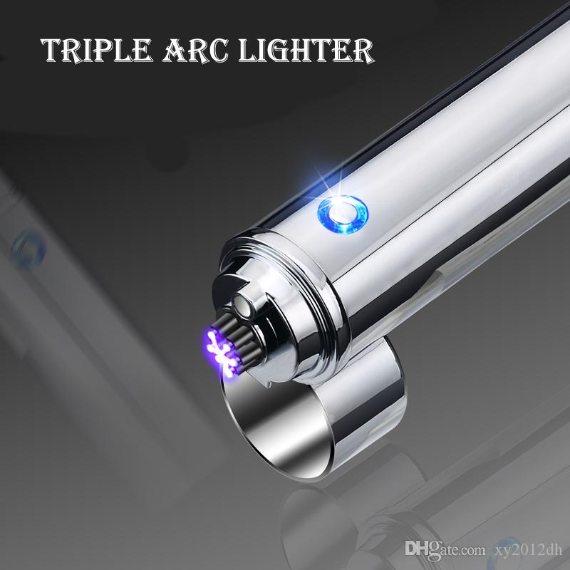 Electric Lighter Deluxe six flame Triple Arc Metal Flameless Torch USB Rechargeable Windproof cigarette cigar Lighters