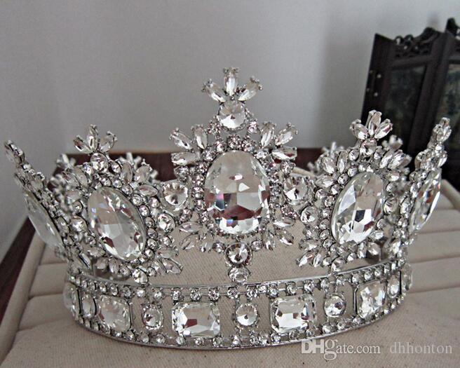 تاج الزفاف التيجان بلورات الزفاف التيجان تاج الأميرة كبيرة مليئة الفاخرة CrownHeadband اكسسوارات للشعر حفل زفاف تيارا HT137