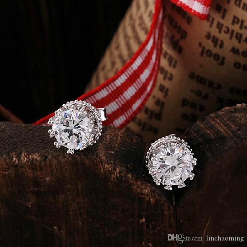 HYWo Luxury Design 925 Sterling silver Clear CZ diamond noble Crown stud earrings Fashion Jewelry gift