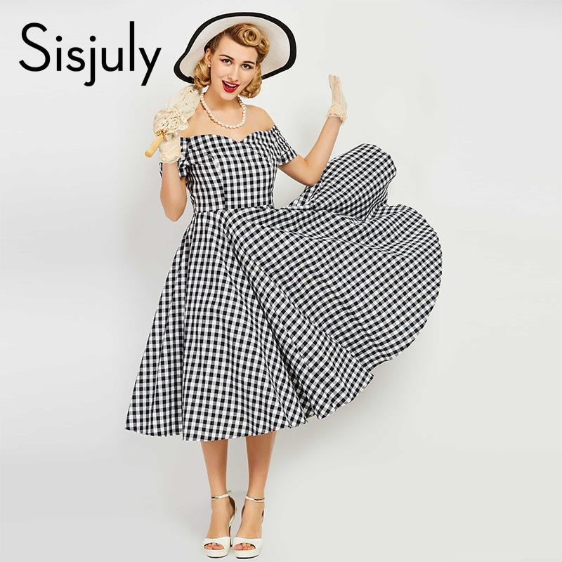 21b477ac183 X201711 Sisjuly Vintage Dress Women Pin Up Black Plaid Elegant Dresses  Luxury Summer Short Sleeve A Line Female Sexy Vintage Dresses New Floral  Dresses For ...