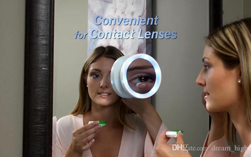 Nouveau Portable 8x Loupe Maquillage Miroir Pivot Action LED Lumières Pivot Brite Cosmétique Outil livraison gratuite