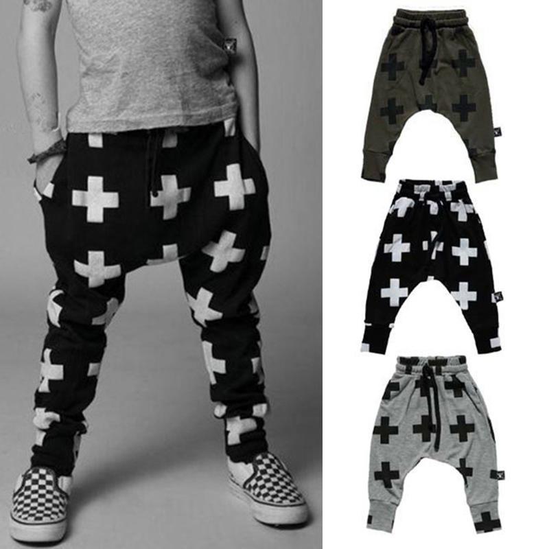 Kids Harem Pants Cross Print Kids Trousers For Girls Boys Cotton