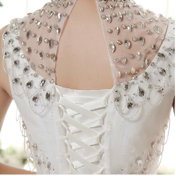 높은 목 크리스탈 빈티지 웨딩 드레스 오픈 다시 2016 층 길이 웨딩 드레스 빠른 배송