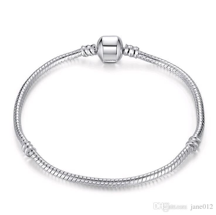 925 Sterling Silver Cobra cadeia pulseira de Pandora Fecho encanto Bead Mix Bangle Pulseiras Tamanho 17cm-21cm Atacado