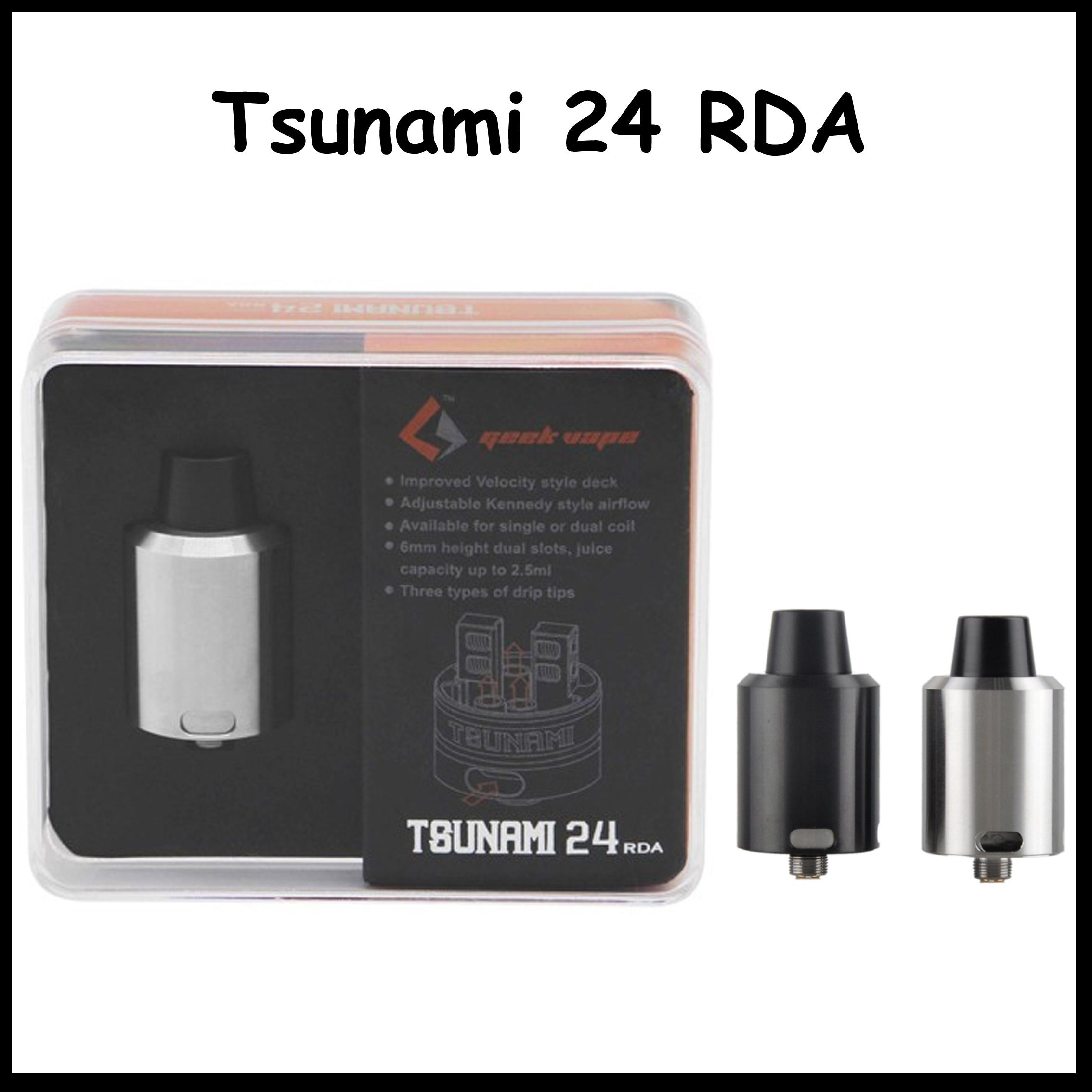 2016 GeekVape Tsunami 24 RDA Tank 24mm Diameter Rebuidable Atomizer with Velocity Dual Coil Deck DIY Holes by DHL free