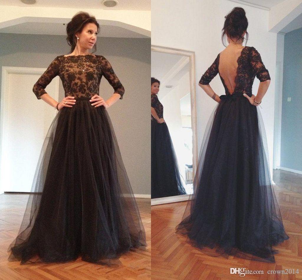 2017 Black Backless Evening Dresses Bateau A Line Open Back Ball ...