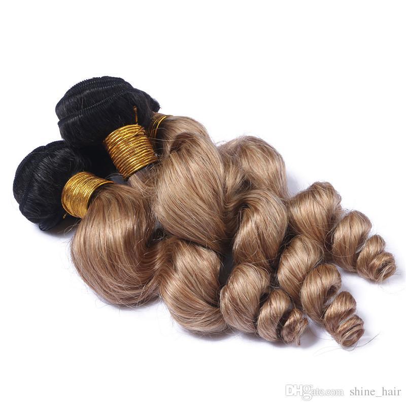 Virgin Brazilian #1B/27 Honey Blonde Ombre Human Hair Weave Bundles Loose Wave Dark Roots Light Brown Ombre Human Hair Wefts