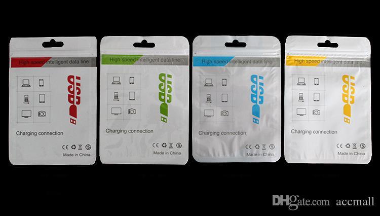 Poli Perakende Paket Çanta Cep Telefonu Şarj Için OPP Ambalaj Kutuları Mikro USB Sync Kablosu Ses Kulaklık iPhone 6 6 S 7 8 Artı Samsung Galaxy S8