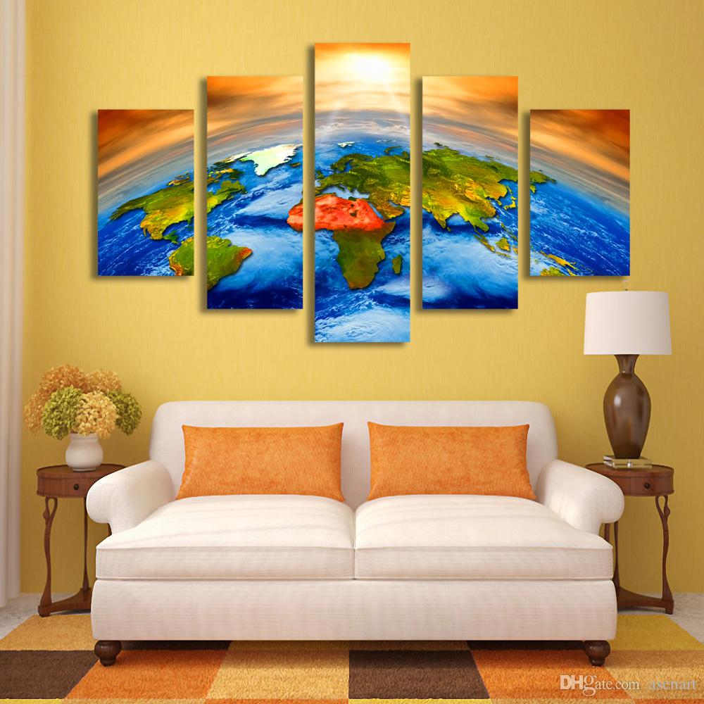 Canvas Art Sun Outer Space Earth World Map Painting Picture for Living Room Wall Art Canvas Prints Artwork Framed Dropshipping