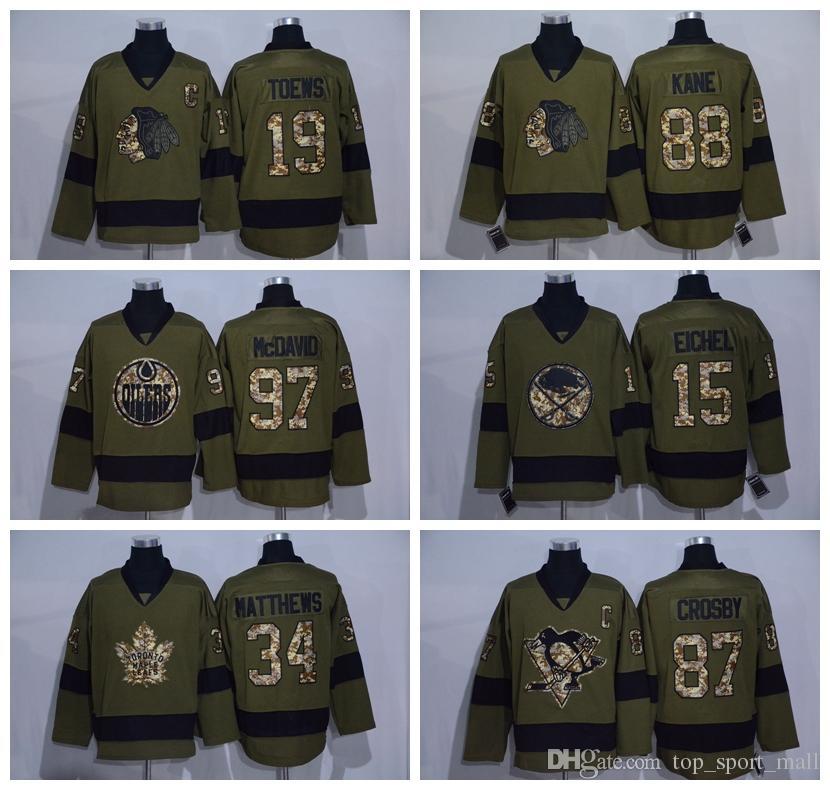 2019 2016 Salute To Service Ice Hockey Jerseys 88 Patrick Kane 97 Connor  McDavid 15 Jack Eichel 87 Sidney Crosby 34 Auston Matthews Army Green From  ... 6c2411f35