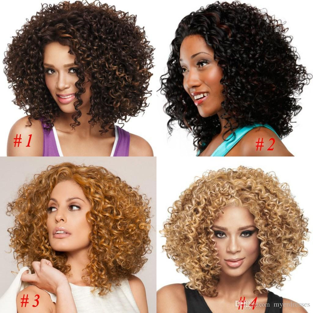 African American Wigs Synthetic Fiber Lace Front Short Afro Kinky