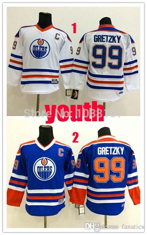 73f28044975 2016 Cheap Youth Wayne Gretzky Jersey Kids Blue White 99 Gretzky ...