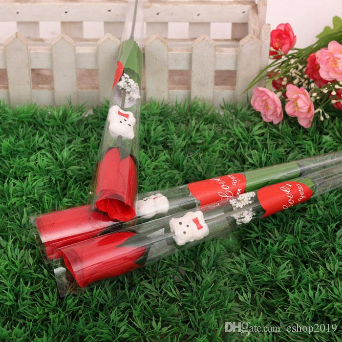 Décoration fleur fleur artificielle cadeaux de Saint Valentin chaud unique simulation de roses rouges dessin animé ours fleurs en soie en forme de coeur