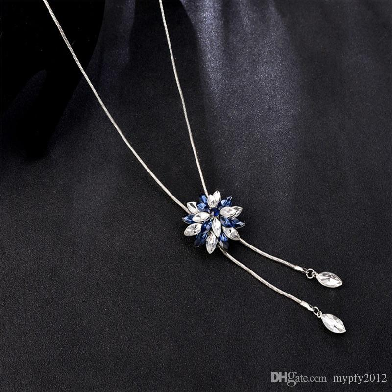 Collar largo suéter para las mujeres de moda de plata de la cadena de la serpiente Zircon Crystal pétalo colgante de borla larga collares de alta calidad