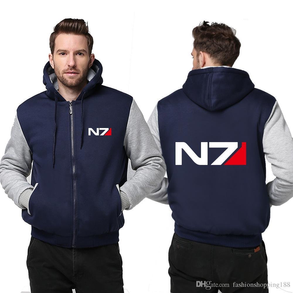 Wholesale New Fashion Mens Game Hoodie Mass Effect Thicken Fleece N7 Fashion Winter Coat Hoodies men Zipper Casual Tops