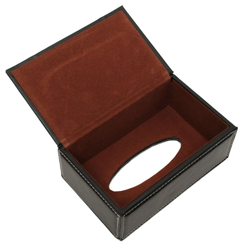 The Best Quality Black European PU Leather Magnetic Tissue Paper Box Holder Case Home Car Office
