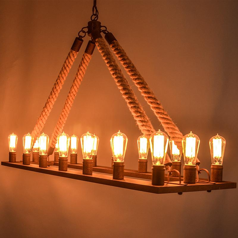 Mission Style Nordic Retro Creative Hall Rope Square Chandelier Industrial Lamp Replicate Restoration Hardware Light Black Modern Chandeliers
