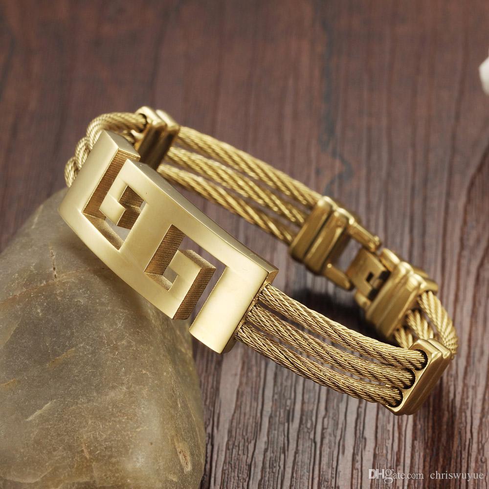 Alta oro a colori di qualità degli uomini in acciaio inox braccialetto braccialetti punk Heavy Metal gioielli bracciali braccialetto del modello della Grande Muraglia