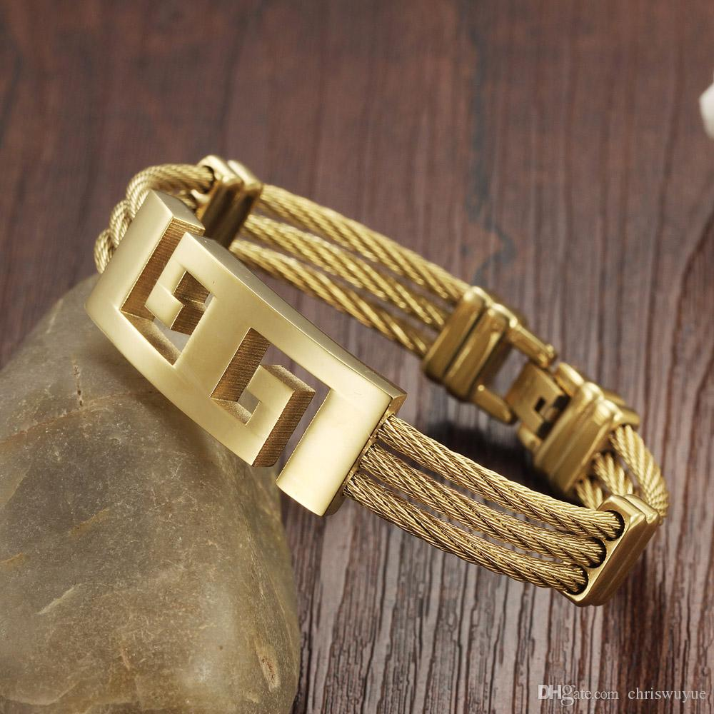 homens de aço inoxidável de alta qualidade de ouro de cor pulseiras pulseira metal pesado do punk pulseiras Great Wall Pattern Pulseira