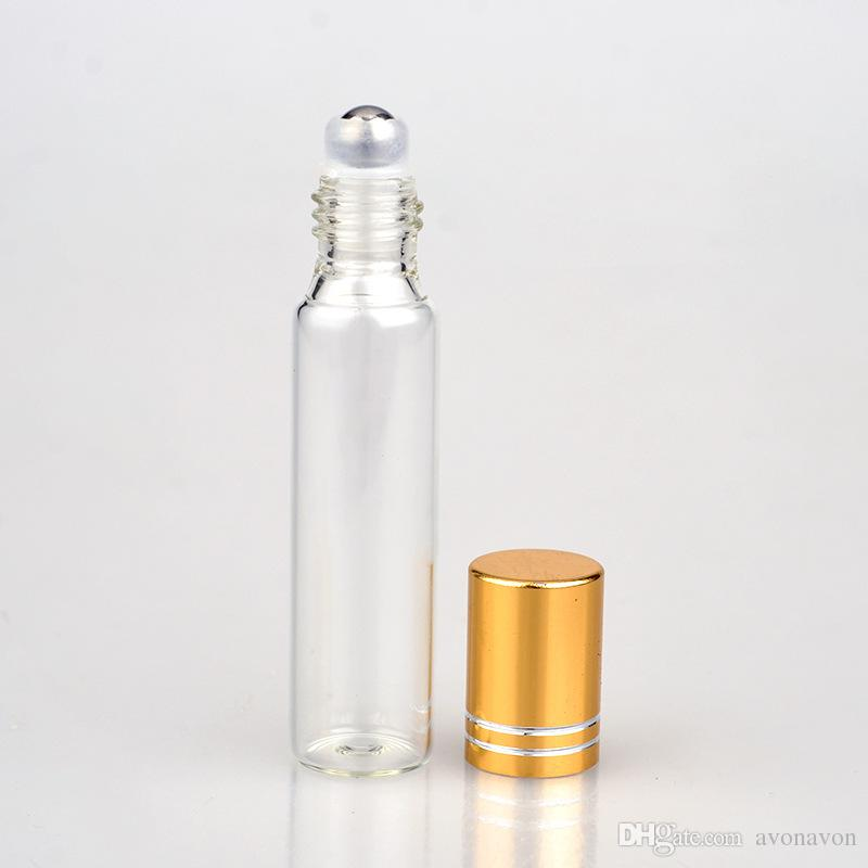10ML Transparent Glass metal cover Spray Bottle Empty Clear Refillable Perfume Atomizer with Steel ball Portable Sample Glass Vials b706