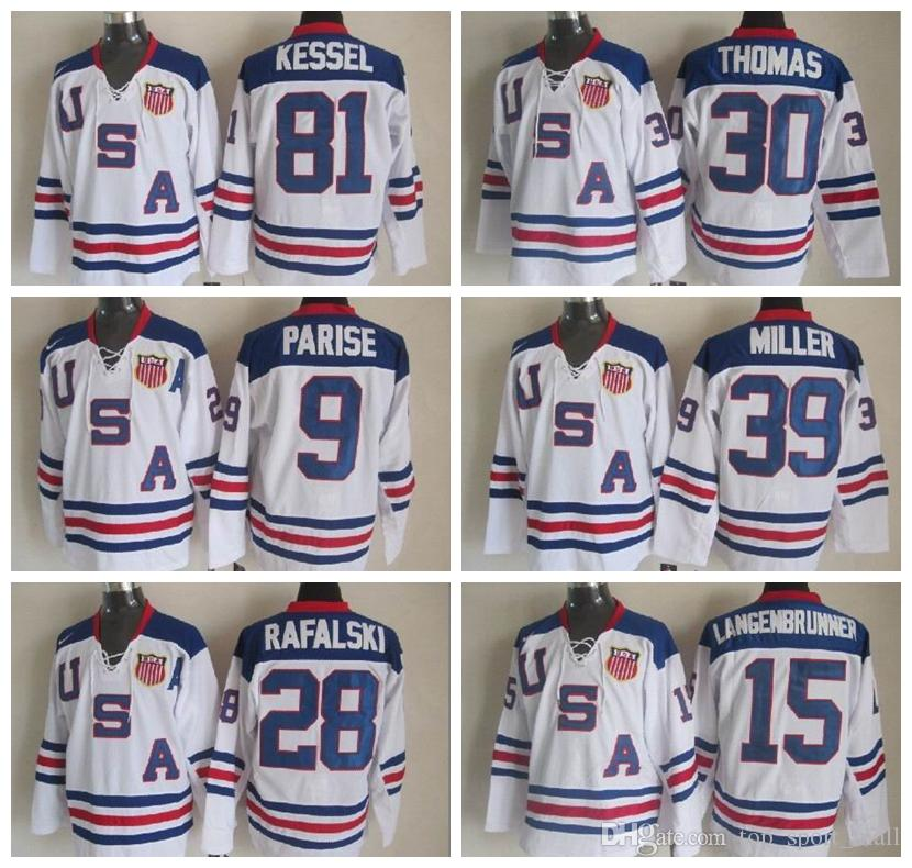 24b94244a 2010 USA Hockey Jersey Ice Team OLYMPIC Blue 9 Zach Parise 88 Patrick Kane  81 Phil Kessel 28 Brian Rafalski 39 Miller 15 Langenbrunner UK 2019 From ...
