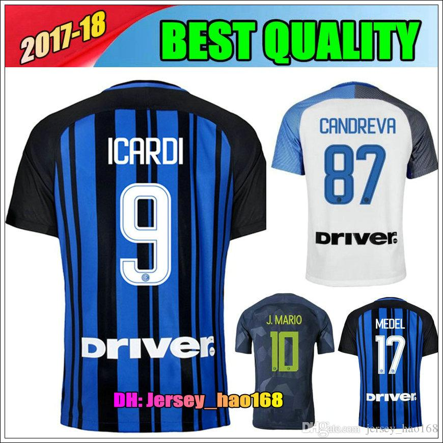 e4ec430634d8e 17 18 Inter Hogar Lejos Tercera Camiseta Candreva Eder Icardi Jovetic 2017  2018 Milan Kondogbia Jovetic Icardi Deportes Azul Blanco Verde Camisas Por  ...
