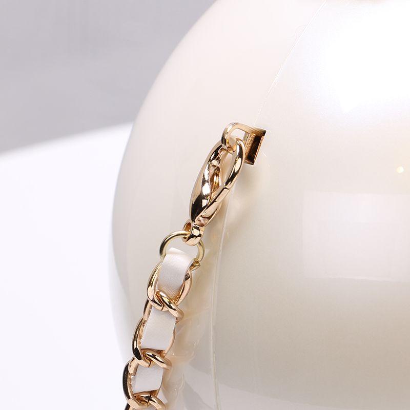 Borse da sera a spalla con catena bianca donna Borse a tracolla a forma di palla in acrilico 2 taglie JLN169