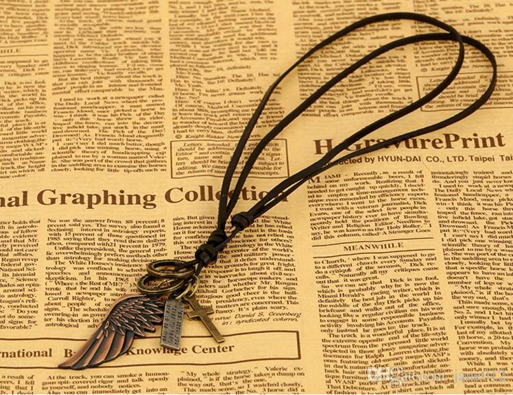 European Style Fashion Jewelry Cross Angle Wings Letter Pendant Genuine Leather Chain longNecklace for Men Women