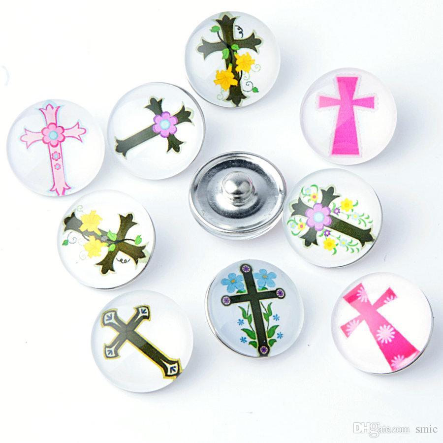 18mm Noosa Morceaux De Verre Croix De Gingembre Snaps Accessoires de Bijoux Bricolage Noosa Nosa Bouton Snap KA0064