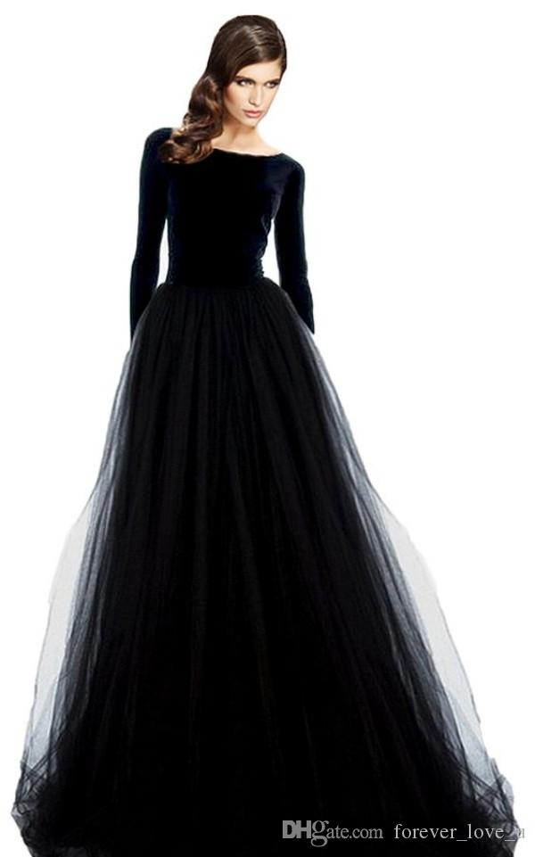 Stunning Long Sleeve Evening Gowns Velvet Dresses Black Prom Party Dress Bateau Neck Open Back Tulle Skirt Floor Length Formal Wear Sleeves