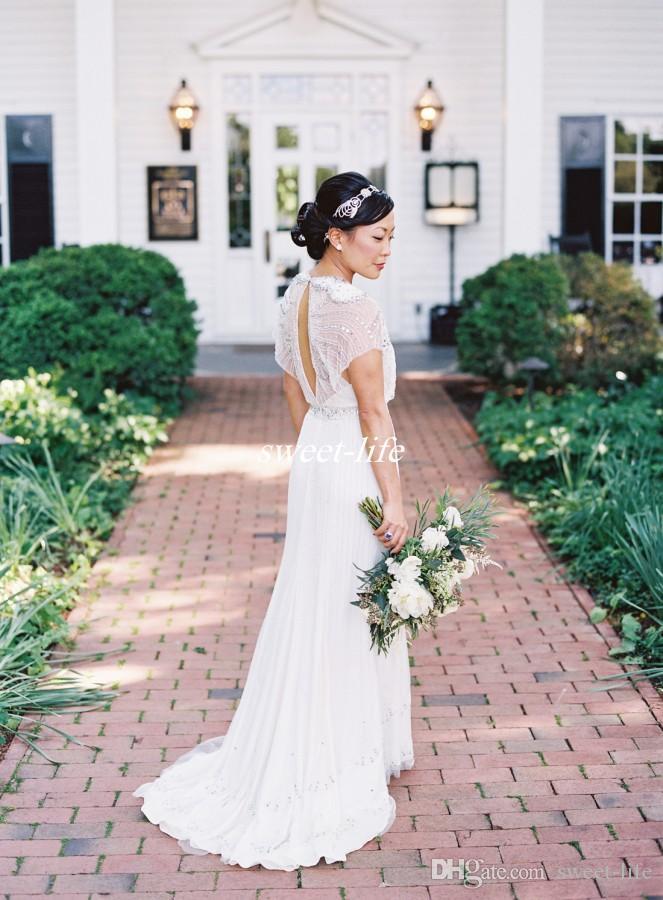 Jenny Packham Vintage Mantel Brautkleider Backless Luxuskristalle Chiffon mit kurzen Ärmeln Tiefer V-Ausschnitt 2020 Land Boho Brautkleider