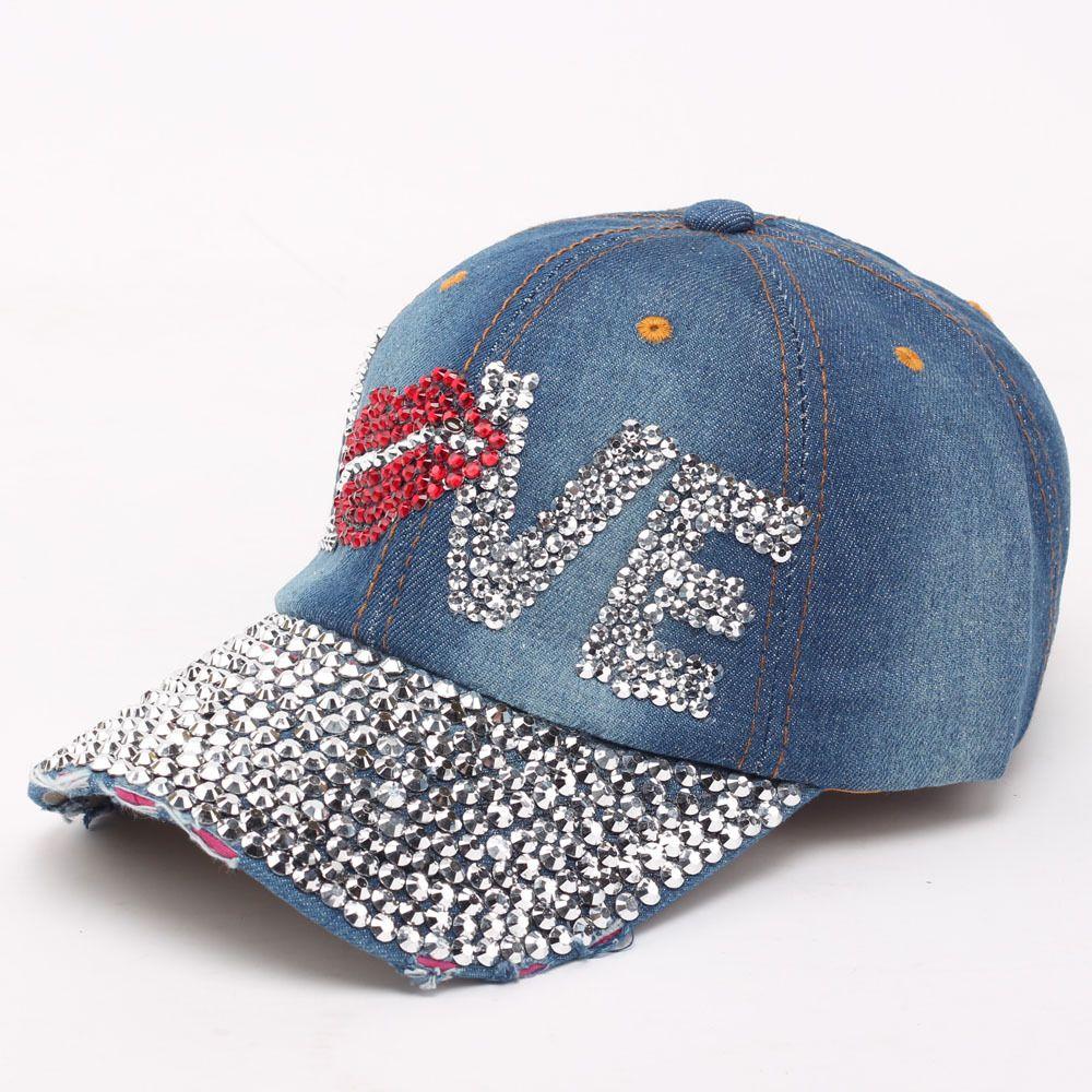NEW Women Denim Baseball Hats Caps 2016 Summer Brand Designer Ladies Mouth  LOVE Rhinestone Denim Baseball Cap Outdoor Sports Snapback Hats Flat Caps  For Men ... 5a70b240071